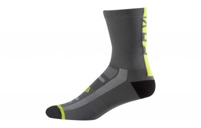 paire de chaussettes fox 8 logo trail gris jaune