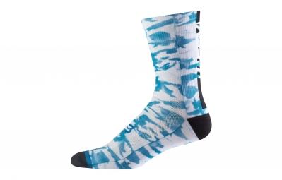 paire de chaussettes fox 8 creo trail blanc bleu