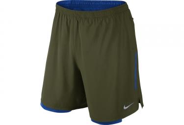short 2 en 1 homme nike phenom 18cm vert bleu