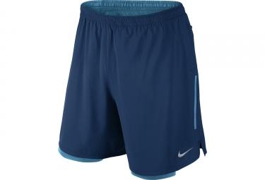 short 2 en 1 homme nike phenom 18cm bleu