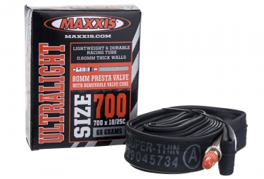 maxxis chambre a air ultra light 700 x 18 25 valve presta 80mm