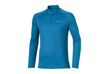 maillot manches longues asics running essentials demi zip bleu