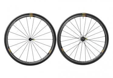 paire de roues mavic ksyrium pro carbon sl c noir bleu shimano sram pneu yksion pro