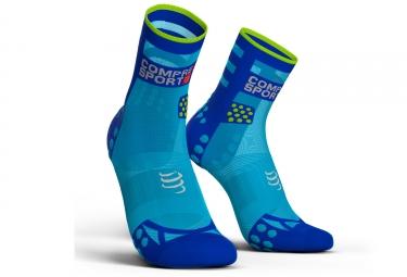 chaussettes compressport proracing v3 0 run ultralight haute bleu fluo