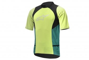 maillot manches courtes alpinestars drop 2 vert noir