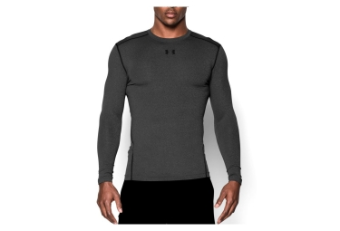 sous maillot de compression manches longues under armour coldgear armour crew gris