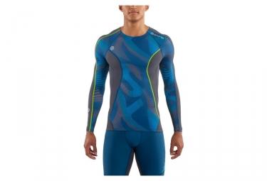 maillot manches longues de compression skins dnamic bleu