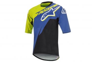 maillot manches courtes alpinestars sight contender jaune bleu