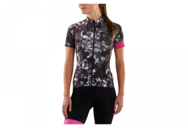 maillot manches courtes femme skins cycle gris rose