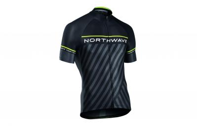 maillot manches courtes northwave logo 3 noir jaune