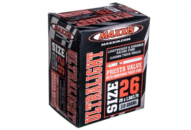 maxxis chambre a air ultralight 26 x 1 50 1 75 valve presta