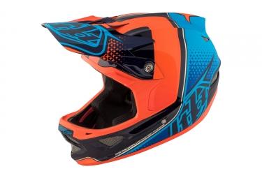 casque integral troy lee designs d3 carbon starburst mips orange bleu 2017