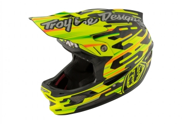 casque integral troy lee designs d3 carbon code mips jaune noir 2017