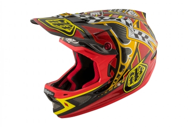 casque integral troy lee designs d3 carbon longshot mips rouge 2017