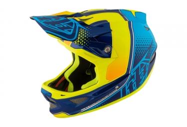 casque integral troy lee designs d3 composite starburst jaune bleu 2017