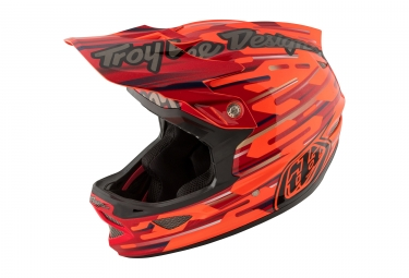 casque integral troy lee designs d3 composite code orange rouge 2017
