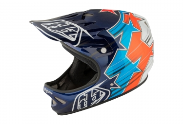 casque integral troy lee designs d2 fusion bleu orange 2017