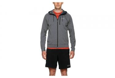 veste a capuche gore running wear essential gris