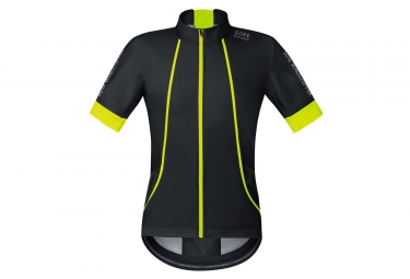 maillot manches courtes gore bike wear oxygen windstopper noir jaune
