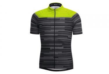 maillot manches courtes gore bike wear element stripes noir jaune