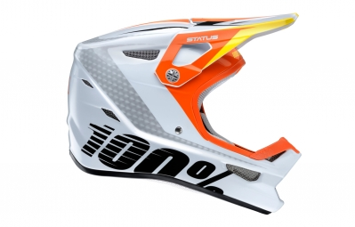 casque integral enfant 100 status d day blanc orange