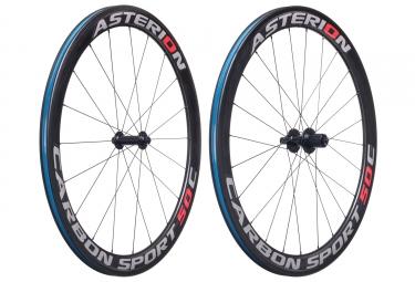 paire de roues asterion carbone sport 50c pneu corps shimano sram