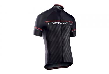 maillot manches courtes northwave logo 3 noir rouge