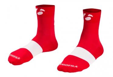 chaussettes bontrager race 6cm rouge blanc
