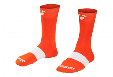 chaussettes bontrager race 12cm orange blanc