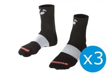 pack de 3 paires de chaussettes bontrager race 6cm noir