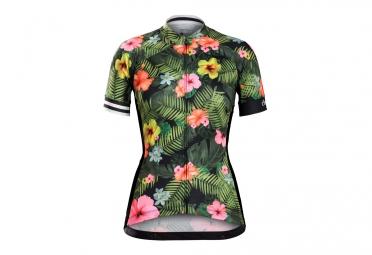 maillot manches courtes femme bontrager anara vert fleurs