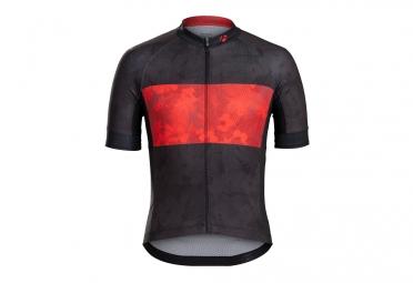 maillot manches courtes bontrager specter noir rouge fleurs