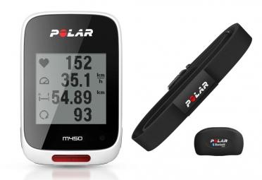 compteur gps polar m450 hr avec ceinture cardiaque blanc