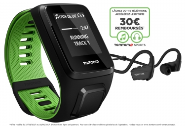 montre gps tomtom runner 3 music casque bluetooth bracelet large noir vert