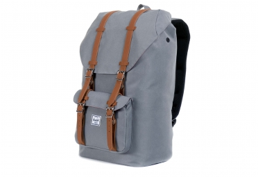 sac a dos herschel little america 25l gris cuir synthetique