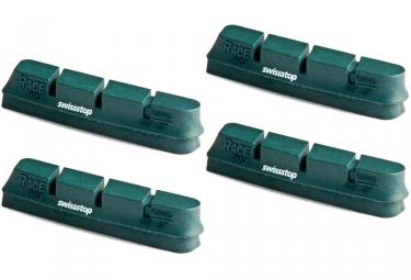 x4 cartouches de patins de freins swisstop race pro vert pour campagnolo
