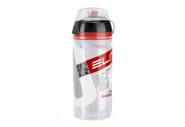 bidon vtt elite corsa transparent rouge 550ml