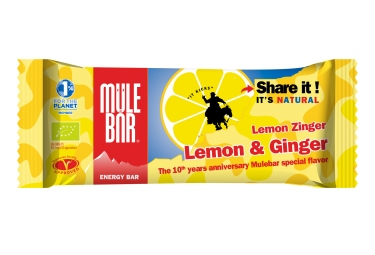 barre energetique mulebar lemon zinger citron gingembre quarana 40g