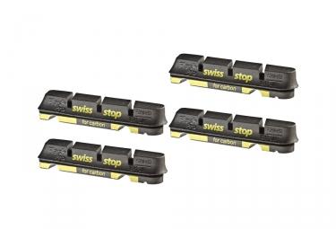 x4 cartouches de patins de freins swisstop flash evo black prince jantes carbone