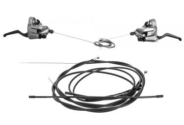 paire de commandes shimano alivio st t4000 3x9v gris