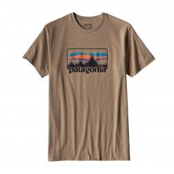 t shirt patagonia 73 logo marron kaki