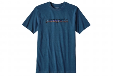 t shirt patagonia 73 text logo bleu