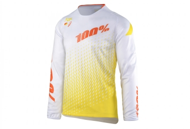maillot manches longues 100 r core supra blanc jaune