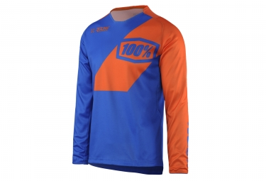maillot manches longues 100 r core nova bleu orange