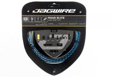 kit cable et gaine route jagwire road elite link pour derailleur bleu