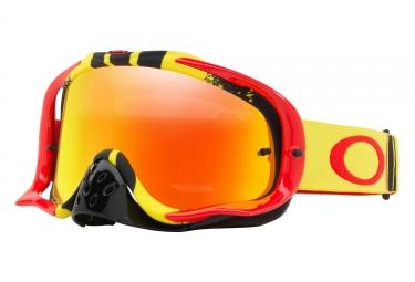 masque oakley crowbar mx jaune rouge jaune transparent oo7025 53