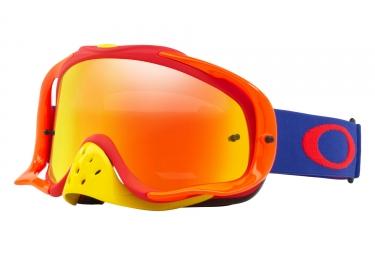 masque oakley crowbar mx bleu rouge fire iridium oo7025 48