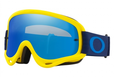 masque oakley o frame mx bleu jaune navy ice iridium oo7029 38