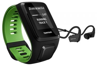 montre gps tomtom runner 3 music casque bluetooth bracelet large noir vert