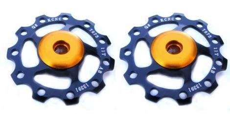 kcnc paire de galets de derailleur noir roulements ceramique 9 10v